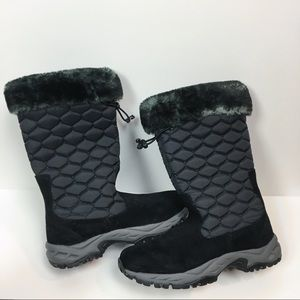 L.L. Bean 8 Black Winter Boots Calf Height Quilted